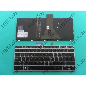 Teclado HP EliteBook Folio 1020 G1 1020 G2 Backlit Moldura Prata PT